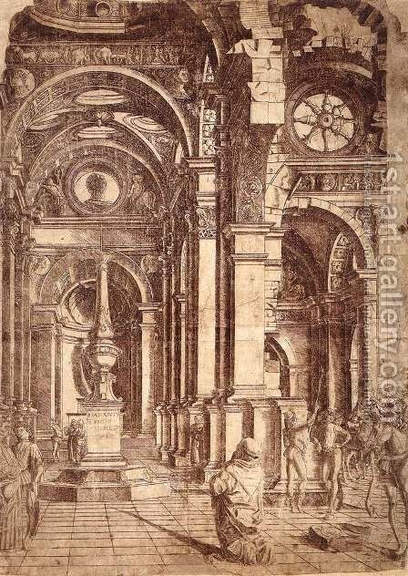 Interior of a Church c. 1480 by Donato Bramante - Reproduction Oil Painting
