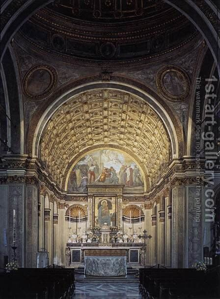 Interior view toward choir 1485 by Donato Bramante - Reproduction Oil Painting