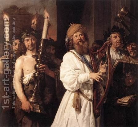 David Playing the Harp 1670 by Jan De Bray - Reproduction Oil Painting