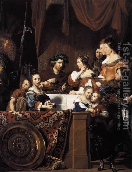 The de Bray Family (The Banquet of Antony and Cleopatra) 1669 by Jan De Bray - Reproduction Oil Painting