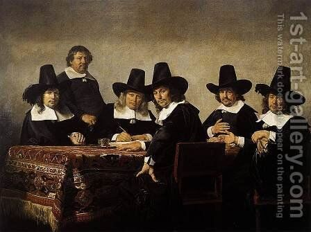 The Regents of the Children's Orphanage in Haarlem 1663 2 by Jan De Bray - Reproduction Oil Painting