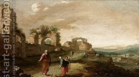 Elijah and the Widow of Zarephath c. 1630 by Bartholomeus Breenbergh - Reproduction Oil Painting