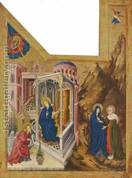 The Annunciation and the Visitation 1393-99 by Melchior Broederlam - Reproduction Oil Painting