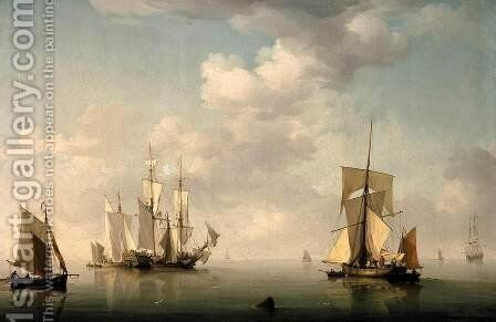 Shipping in a Calm by Charles Brooking - Reproduction Oil Painting