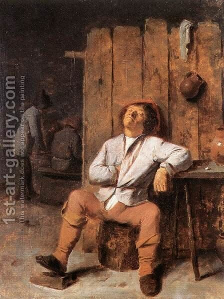 A Boor Asleep by Adriaen Brouwer - Reproduction Oil Painting