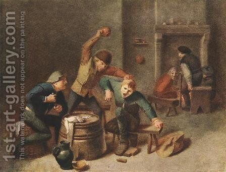 Brawling Peasants by Adriaen Brouwer - Reproduction Oil Painting
