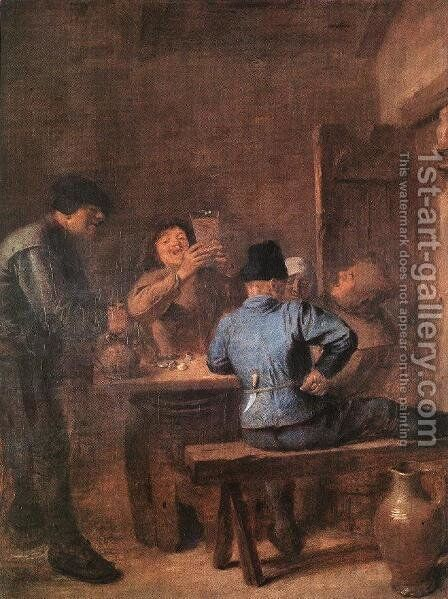 In the Tavern by Adriaen Brouwer - Reproduction Oil Painting