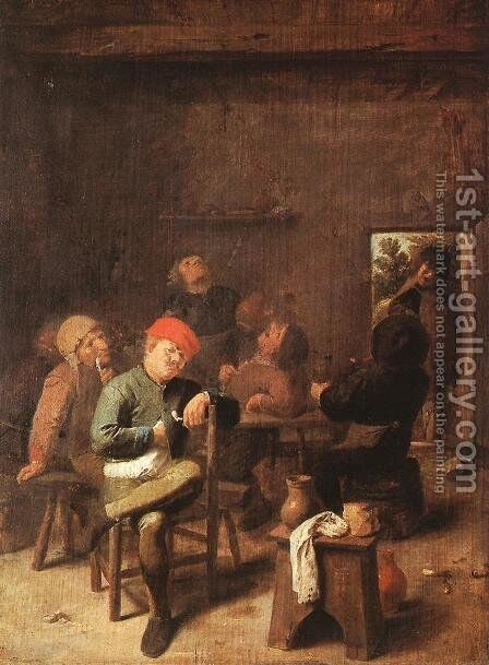 Peasants Smoking and Drinking c. 1635 by Adriaen Brouwer - Reproduction Oil Painting