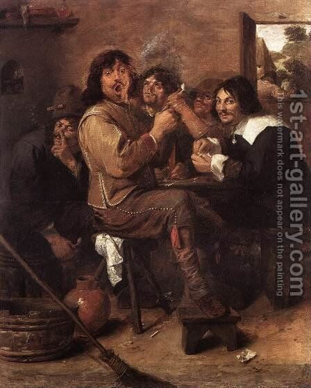 Smoking Men c. 1637 by Adriaen Brouwer - Reproduction Oil Painting