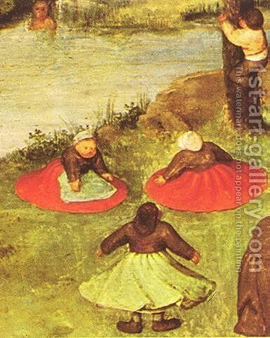 Children's Games (detail 2) 1559-60 by Pieter the Elder Bruegel - Reproduction Oil Painting