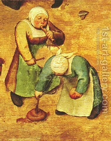 Children's Games (detail 10) 1559-60 by Pieter the Elder Bruegel - Reproduction Oil Painting