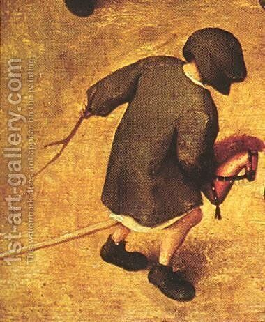 Children's Games (detail 16) 1559-60 by Pieter the Elder Bruegel - Reproduction Oil Painting