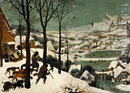 The Hunters in the Snow (Winter) 1565 by Pieter the Elder Bruegel - Reproduction Oil Painting