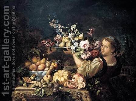 Still-Life 1669-75 by Abraham Brueghel - Reproduction Oil Painting