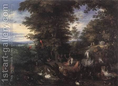 Adam and Eve in the Garden of Eden 1610s by Jan The Elder Brueghel - Reproduction Oil Painting