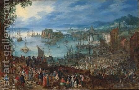 Great Fish-Market 1603 by Jan The Elder Brueghel - Reproduction Oil Painting