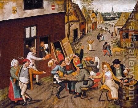 Peasants Making Merry outside a Tavern 'The Swan' c. 1630 by Jan, the Younger Brueghel - Reproduction Oil Painting