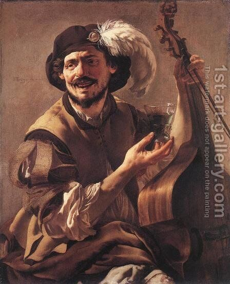A Laughing Bravo with a Bass Viol and a Glass 1625 by Hendrick Terbrugghen - Reproduction Oil Painting