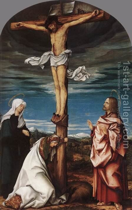 Crucifix with Mary, Mary Magdalen and St John the Evangelist 1519 by Hans, the elder Burgkmair - Reproduction Oil Painting
