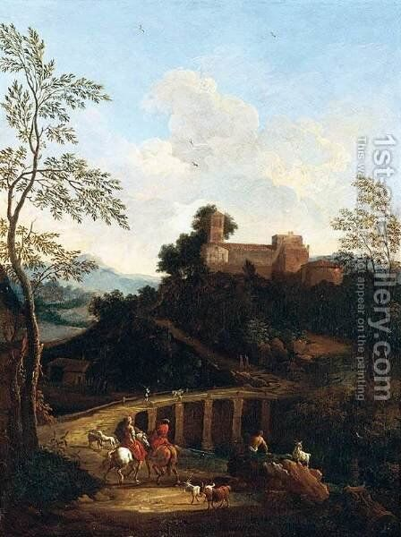 Roman Landscape near to a Bridge by Giovanni Battista Busiri - Reproduction Oil Painting