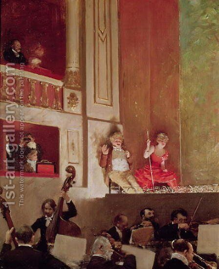 Revue at the Theatre des Varietes c.1885 by Jean-Georges Beraud - Reproduction Oil Painting