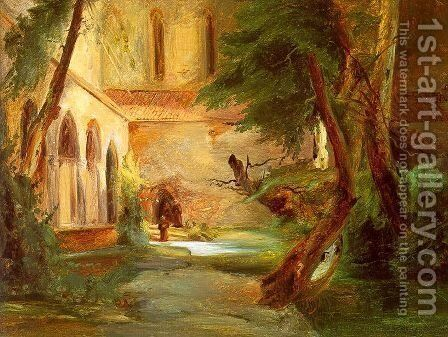 Monastery in the Wood 1835 by Charles Blechen - Reproduction Oil Painting
