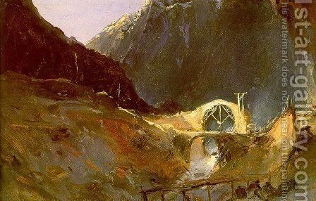 The Building of the Devil's Bridge 1833 by Charles Blechen - Reproduction Oil Painting