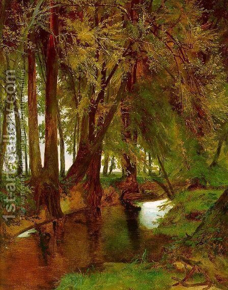 Woodland with Brook 1831-35 by Charles Blechen - Reproduction Oil Painting