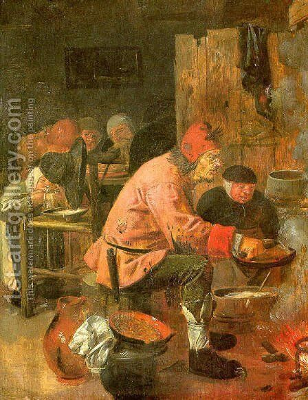 The Pancake Baker 1620s by Adriaen Brouwer - Reproduction Oil Painting