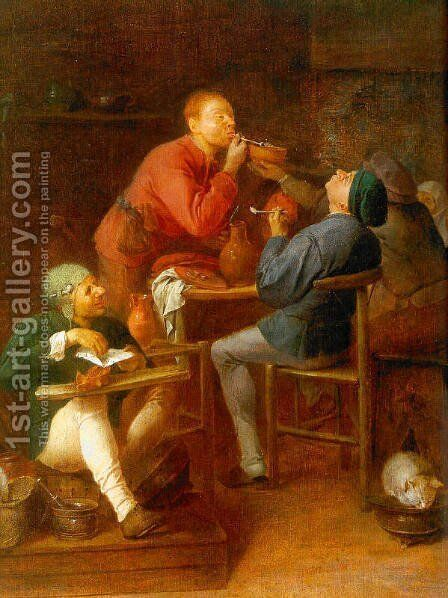 The Smokers (The Peasants of Moerdijk) 1627-30 by Adriaen Brouwer - Reproduction Oil Painting