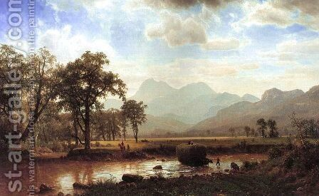 Haying, Conway Meadows 1864 by Albert Bierstadt - Reproduction Oil Painting