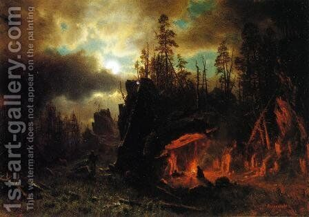 The Trappers' Camp 1861 by Albert Bierstadt - Reproduction Oil Painting