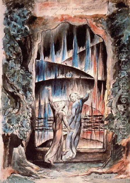 Dante and Virgil at the Gates of Hell (Illustration to Dante's Inferno) by William Blake - Reproduction Oil Painting