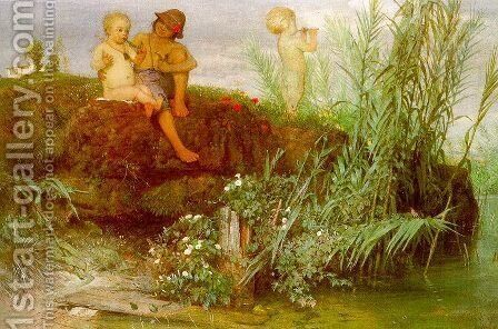 Children Carving May Flutes 1865 by Arnold Böcklin - Reproduction Oil Painting