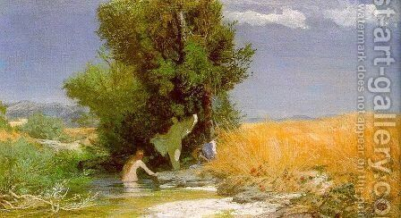 Nymphs Bathing 1863-66 by Arnold Böcklin - Reproduction Oil Painting
