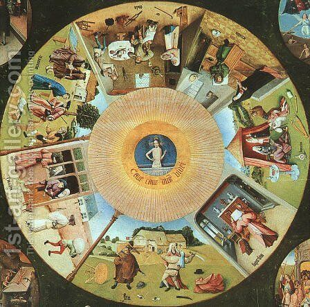 Tabletop of the Seven Deadly Sins and the Four Last Things, (detail of The Eye of God which Sees the Committing of the Seven Deadly Sins) by Hieronymous Bosch - Reproduction Oil Painting