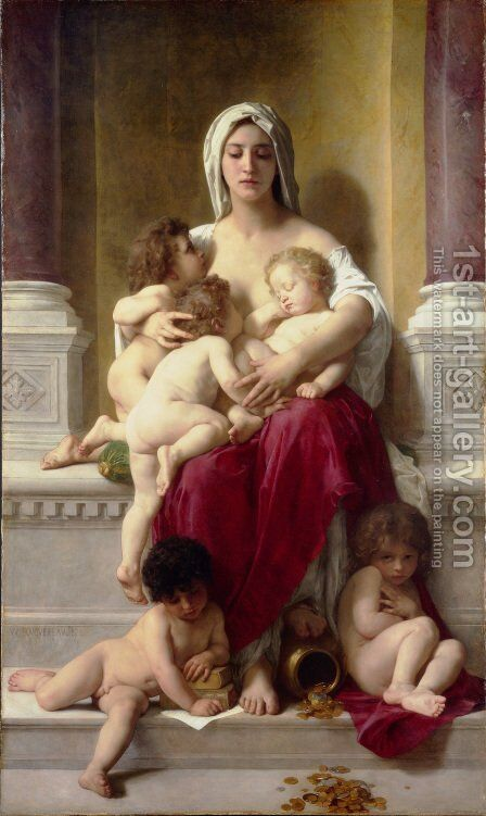 Charity 1878 by William-Adolphe Bouguereau - Reproduction Oil Painting