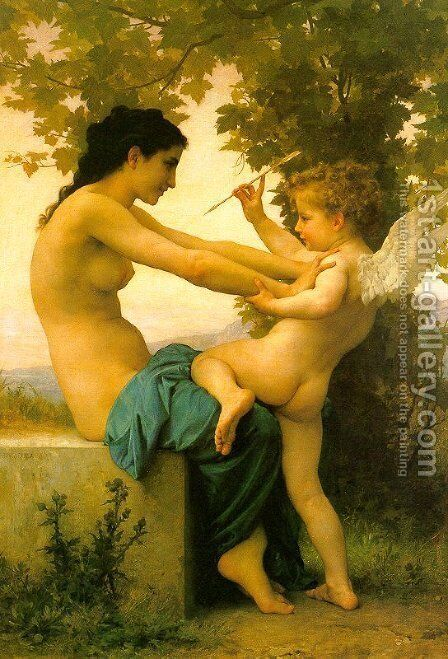 Young Girl Defending Herself against Eros 1880 by William-Adolphe Bouguereau - Reproduction Oil Painting