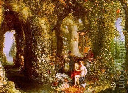 A Fantastic Cave Landscape with Odysseus & Calypso (painted with Hendrick de Clerck) by Jan The Elder Brueghel - Reproduction Oil Painting