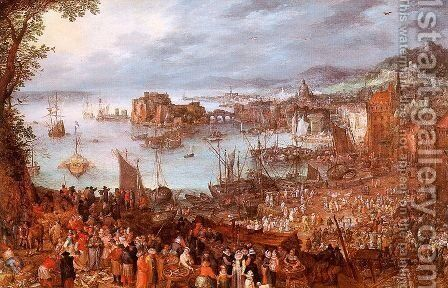 The Great Fish Market 1603 by Jan The Elder Brueghel - Reproduction Oil Painting