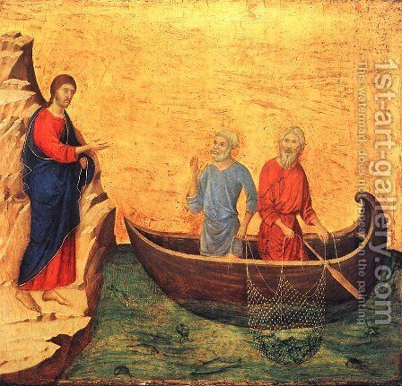 The Calling of the Apostles Peter and Andrew 1308-1311 by Duccio Di Buoninsegna - Reproduction Oil Painting