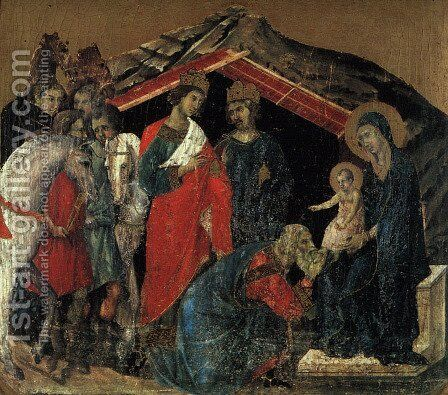 """The Maesta Altarpiece (detail from the predella featuring """"The Adoration of the Magi"""") 1308-11 by Duccio Di Buoninsegna - Reproduction Oil Painting"""