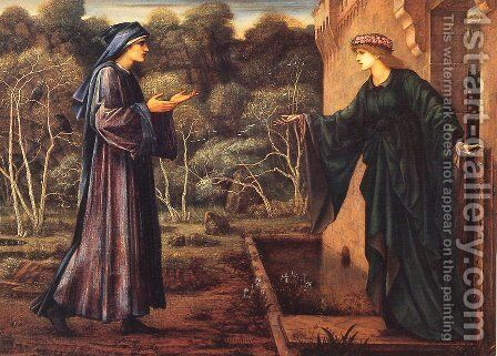 Pilgrim at the Gate of Idleness 1875-93 by Sir Edward Coley Burne-Jones - Reproduction Oil Painting