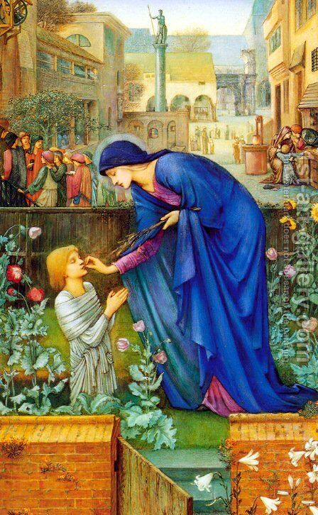 The Prioress' Tale by Sir Edward Coley Burne-Jones - Reproduction Oil Painting
