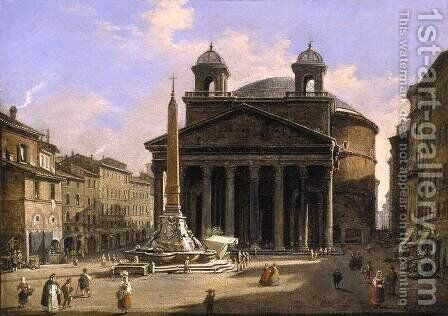 View of the Pantheon Rome by Ippolito Caffi - Reproduction Oil Painting