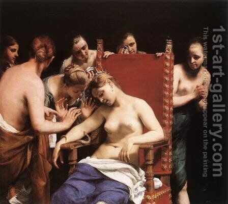 The Death of Cleopatra 1658 by Guido Cagnacci - Reproduction Oil Painting