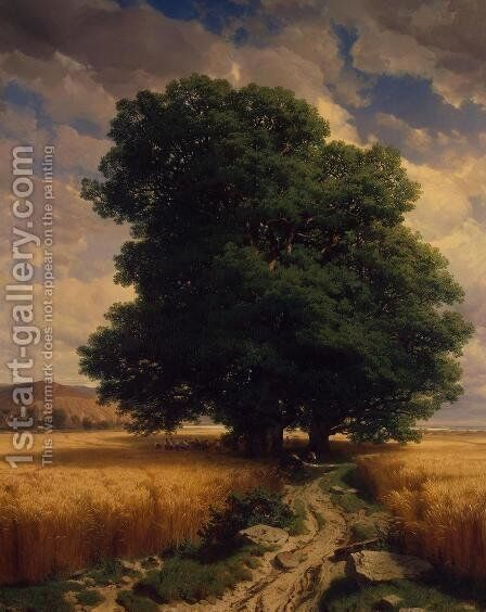 Landscape with Oak Trees 1859 by Alexandre Calame - Reproduction Oil Painting
