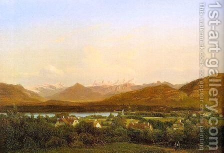 View of Geneva from Petit-Saconnex 1834 by Alexandre Calame - Reproduction Oil Painting