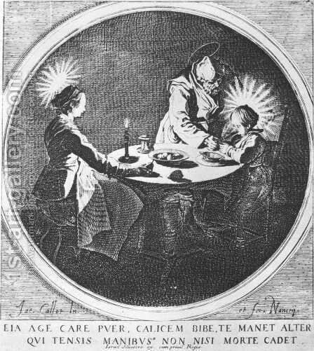The Holy Family at Table 1628 by Jacques Callot - Reproduction Oil Painting