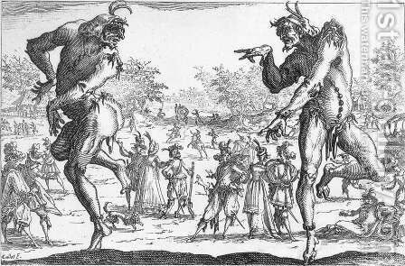 The Two Pantaloons 1616 by Jacques Callot - Reproduction Oil Painting